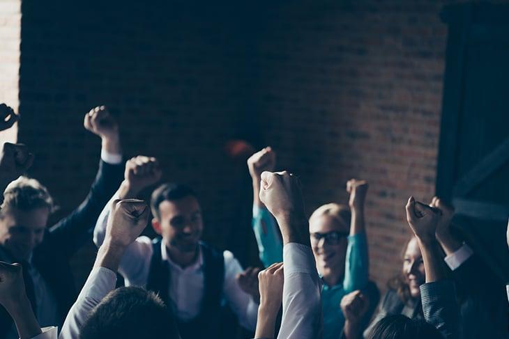 Group of employees celebrating