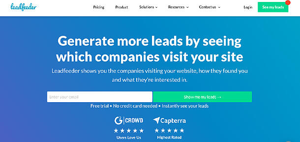 LeadFeeder home page