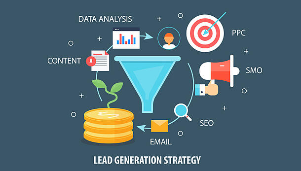 graphic with lead generation strategy tactics