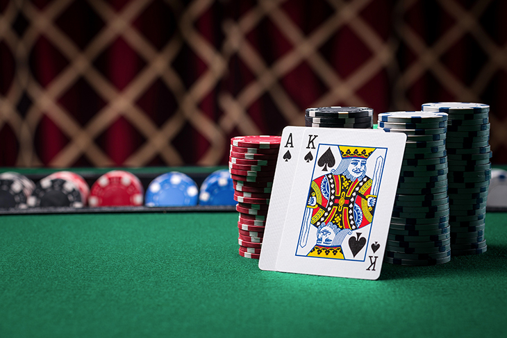 Playing cards on poker table