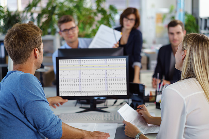 Cross-Functional team working on computer during meeting
