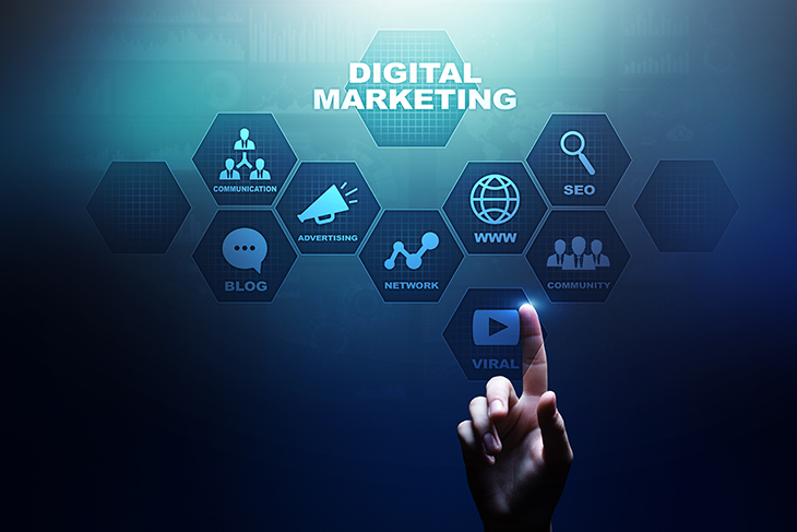 Hand tapping screen that has digital marketing tool buttons on blue background