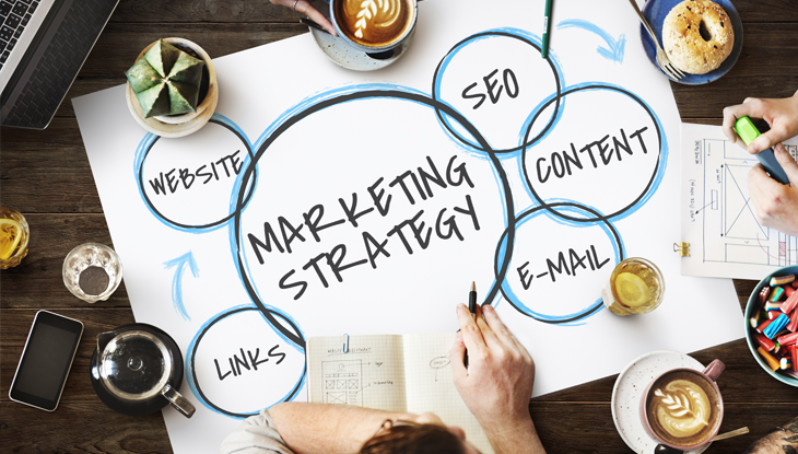 illustration with marketing strategy in center with website, seo, content, email, and links around the outside