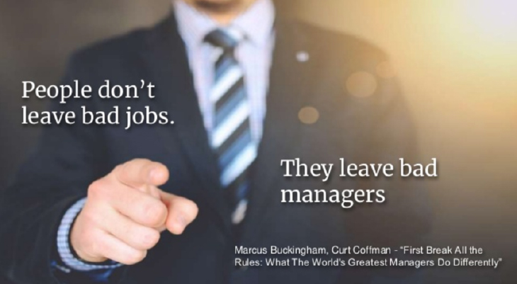 """Male in suit pointing with words of """"People Don't Leave Bad Jobs, They Leave Bad Managers"""""""