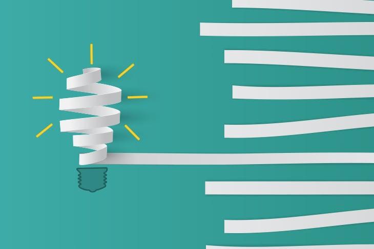 Paper formed to create lightbulb
