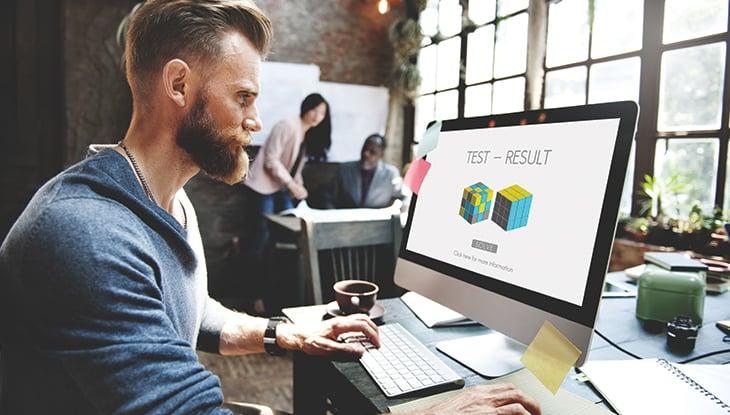 Male test website on Desktop Computer
