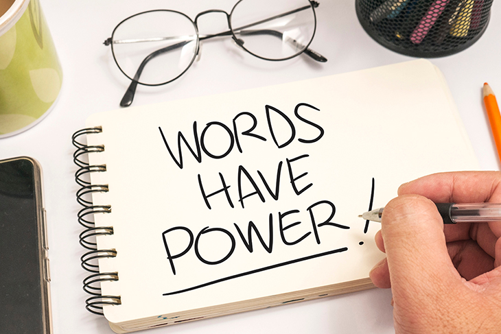 """Notepad with """"Words Have Power!"""" written on it"""