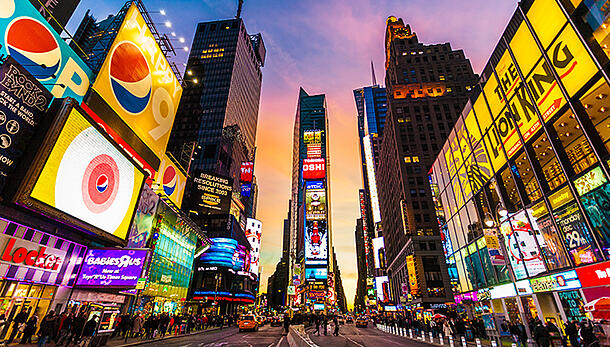 Downtown New York City at twilight